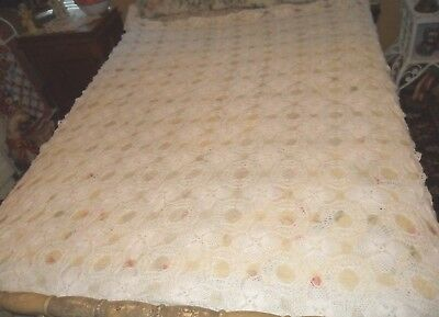 """Stunning Vintage Hand Crochet Antique White Tablecloth 60"""" X 72"""" Rectangle"""