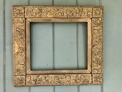 "gorgeous Antique Frame Ornate Floral Embossed Design 10"" X 12"" Glass Size"