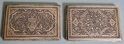 Superb Pair Persian Solid 84 Silver Cigarette Cases Ornate Isfahan 1900 320 Gr.