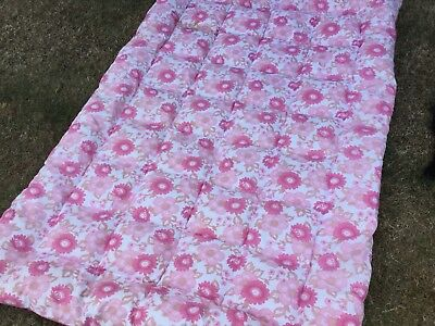 Beautiful Vintage Feather single bed Quilt Eiderdown Floral Pinks retro Vw van