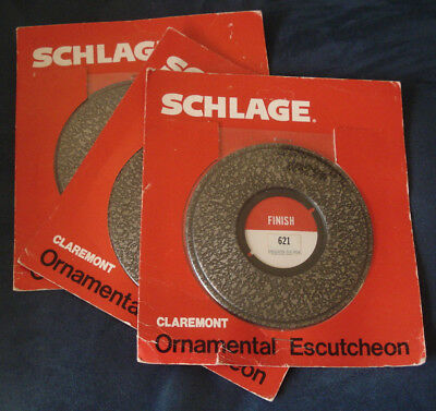 Schlage Ornamental Door Escutcheon Old Iron 621 Claremont Design NOS 3 Available