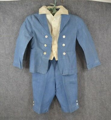 antique boy child blue linen suit Lord Fauntleroy 1890 1910 Edwardian original