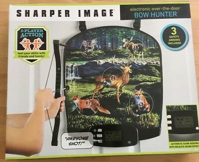 New Sharper Image Electronic Over The Door Bow Hunter Arrow Target Dart Game