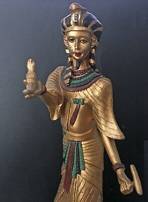 Egyptian Pharaoh Figurine in a nemes with uraeus, holding falcon, was-scepter