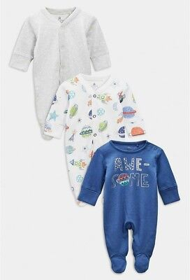NEXT Baby Boys Stars Rocket Space Awesome Sleepsuits 6-9 months BNWT