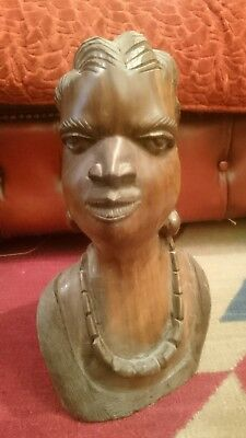 Stunning Antique Carved Wood Female Figure Head African Warrior Tribal Art HEAVY