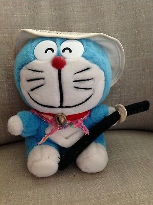RARE Vintage Doraemon Blue Singing Cat Sword Fujiko Japan 1970 samurai stuffed