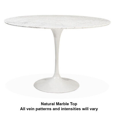 MARBLE DINING TABLE Round White Tulip Base Mid Century Kitchen Table - Tulip table sizes