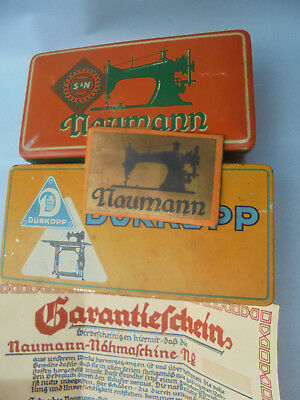 29484 2x Blechdose Nähmaschine S & N Naumann +  Dürkopp 1925 tin sewing Machine