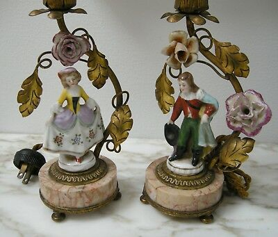 ANTIQUE FRENCH Pair FIGURAL TABLE LAMPS PORCELAIN FLOWERS HAND PAINTED