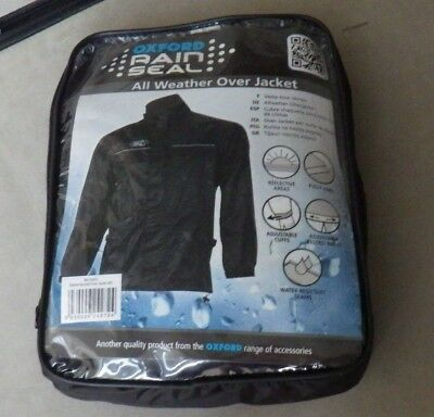 Oxford Rain Seal Weather Black 100% Waterproof Motorcycle Over Jacket Size 2XL