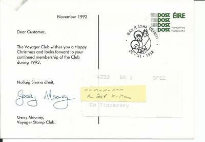 1992 Ireland Dublin Happy Christmas An Post Voyager Club Stationery Postcard