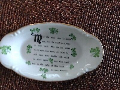 IRISH BLESSING DISH W/ GOLD TRIM BY NORCREST FINE CHINA TA-4- PRE OWNED 9x5 IN.