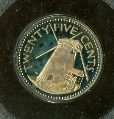 1973 Barbados 25 Cents Silver Certified Top Grade Proof Ultracam $15 Coin