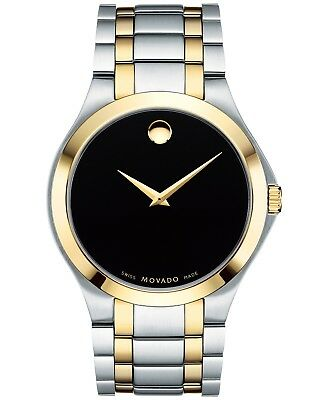 d53c2ab1929 Movado Collection SWISS Black Dial Two Tone Stainless Steel Men s Watch  0606896