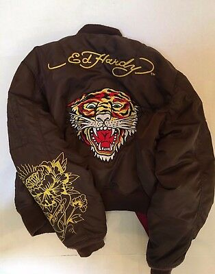 Ed Hardy Women Tiger USA Bomber Jacket Embroidered Art And patches Size L