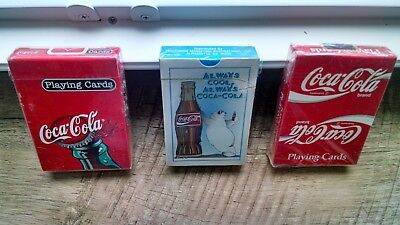 Lot of Three Coca-Cola Sealed in Plastic Decks of Playing Cards (NOS)
