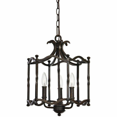 Old World Tuscan Style Pendant Chandelier Distressed Rust Iron Textured Finish