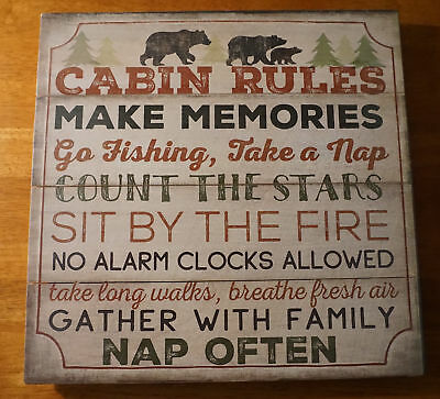 CABIN RULES - NAP OFTEN Rustic Bear Lodge Wood Plank Cabin Home Decor Sign NEW