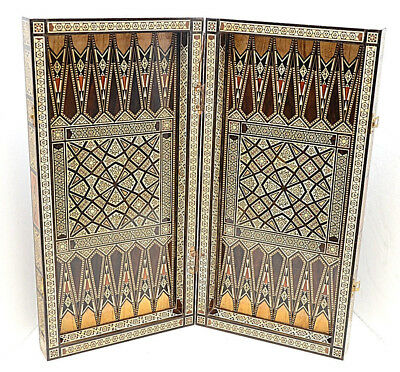 """Antique Wood Backgammon Board Inlaid Mother of Pearl Syrian Moorish checkers 20"""""""