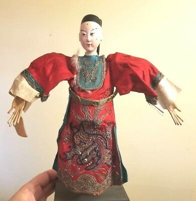 """Chinese Opera Doll 11"""" Silk Embroidered Dragon Robe Qing Dynasty 1900 Rare Find!"""