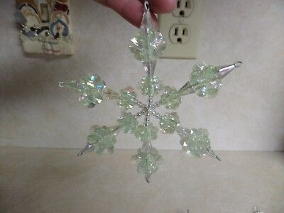 Vintage Lot of 2 Beaded Star Ornaments Iridescent Colors Shiny