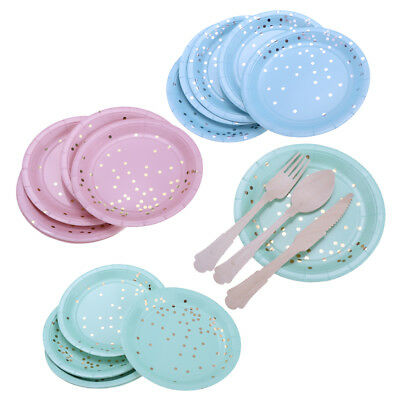 8pcs Gilding Gold Dots Disposable Paper Plate Birthday Catering Party Tableware