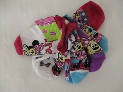 Disney Minnie Mouse 6 Pairs Pink Purple Turquoise White 6-8  No Show Socks