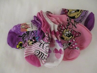 Disney Minnie Mouse 6 Pairs Pink Purple White 6-8  No Show Socks