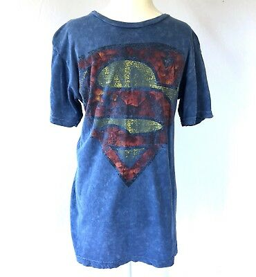 a583ee69 Superman T Shirt Mens S Distressed Worn In Faded Look Blue Short Sleeve