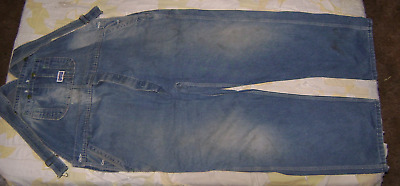 Antique Old Vintage Overalls Big Smith Blue Denim Farm Wear 44 X 27 Used Faded