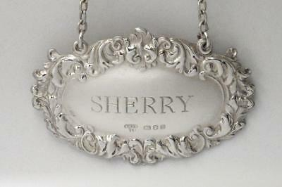Vintage Sterling Silver Sherry Decanter Label Hallmarked Ac & Sons London 1973