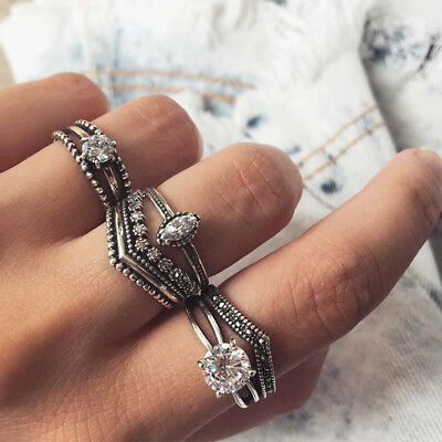 7Pcs/ Set Women Vintage Bohemian Retro Flower Midi Finger Knuckle Rings Jewelry