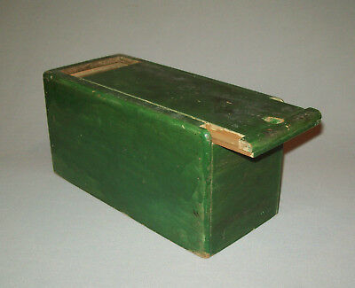 Old antique vtg late 19th C 1870's Small Slide Top Candle Box Original Green Pai