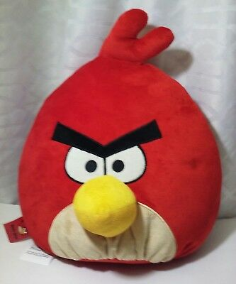 """Angry Birds H14"""" × L16""""  Red Bird Plush Pillow Officially Licensed EUC"""