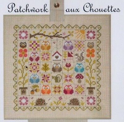 Patchwork aux Chouettes (Owls) - cross stitch chart - Jardin Prive