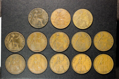 Lot of 13 Great Britian Large Cents 1902,15,16,18,20,22,28,36,37,38,44,45 & 1946