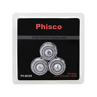 Phisco Shaver Replacement Head Blade Cutters 3 Pcs for Electric Razor Men 2 in 1