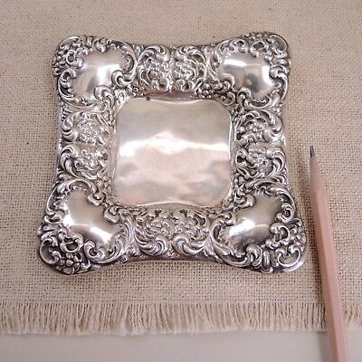 Unger Brothers Sterling Silver Repousse Dish c1900 Flowers Scrolls Pin Tray Bowl