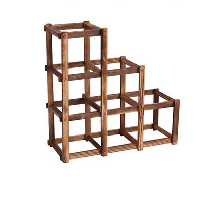 Foldable Charcoal color 6 Grid Wood Wine Holder Fashion Wine Rack Bar/Home/ Z9W9