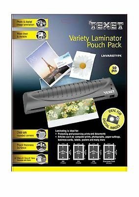 Texet Laminator Pouches Variety Pouch Pack (Pack of 50) A4 A5 A6 B Card GX10