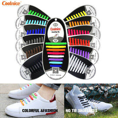 Coolnice No Tie Shoelaces For Women, Men, and Kids - Elastic Silicone Shoe Laces