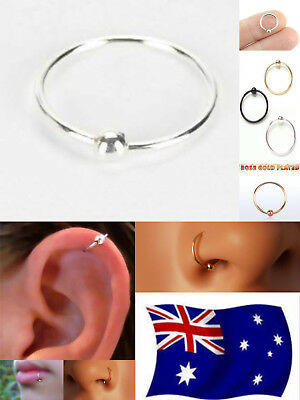 Solid S925 Sterling Silver 22g Hoop Ring With Fix Ball Nose Ear Lip Nipple 1pc