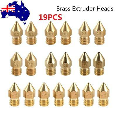 19pcs 3D Printer Nozzle 0.2~1.0mm φ1.75mm MK8 Extruder Head Creality Cr10 F6S2