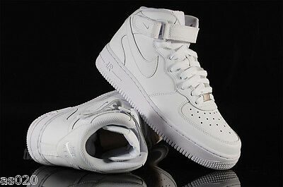 Nike Air Force 1 GS Boys Girls Kids Junior Mid Top Trainers Shoes - All White