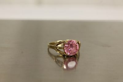 10kt Yellow Gold Women's Ring With Pink Stone For Jewelry Wear 9 1/4.