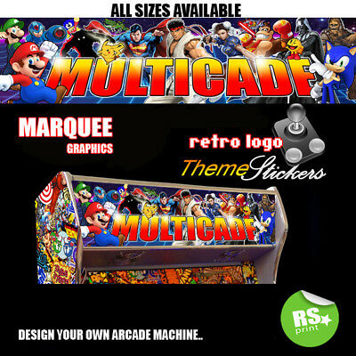 Multicade Arcade Artwork Marquee Stickers Graphic / Laminated All Sizes