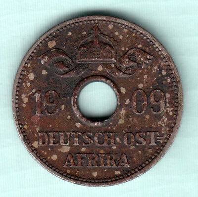 German East Africa Tanzania 1909 Extremely RARE Copper Nickel 10 Heller Coin 144