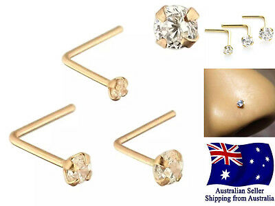 925 Silver Rose Gold L Shape Bent Nose Stud 22g with Clear Crystal Prong Set 1pc