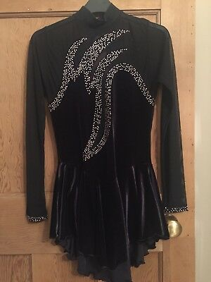 Women's Adult Ice Skating Dress With Pink/Silver/Black Diamanté Detail Size 10
